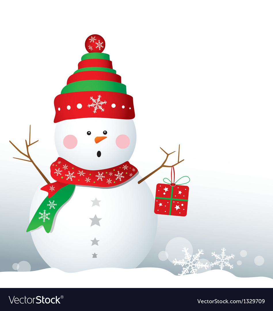 Snowman design for christmas background vector | Price: 1 Credit (USD $1)
