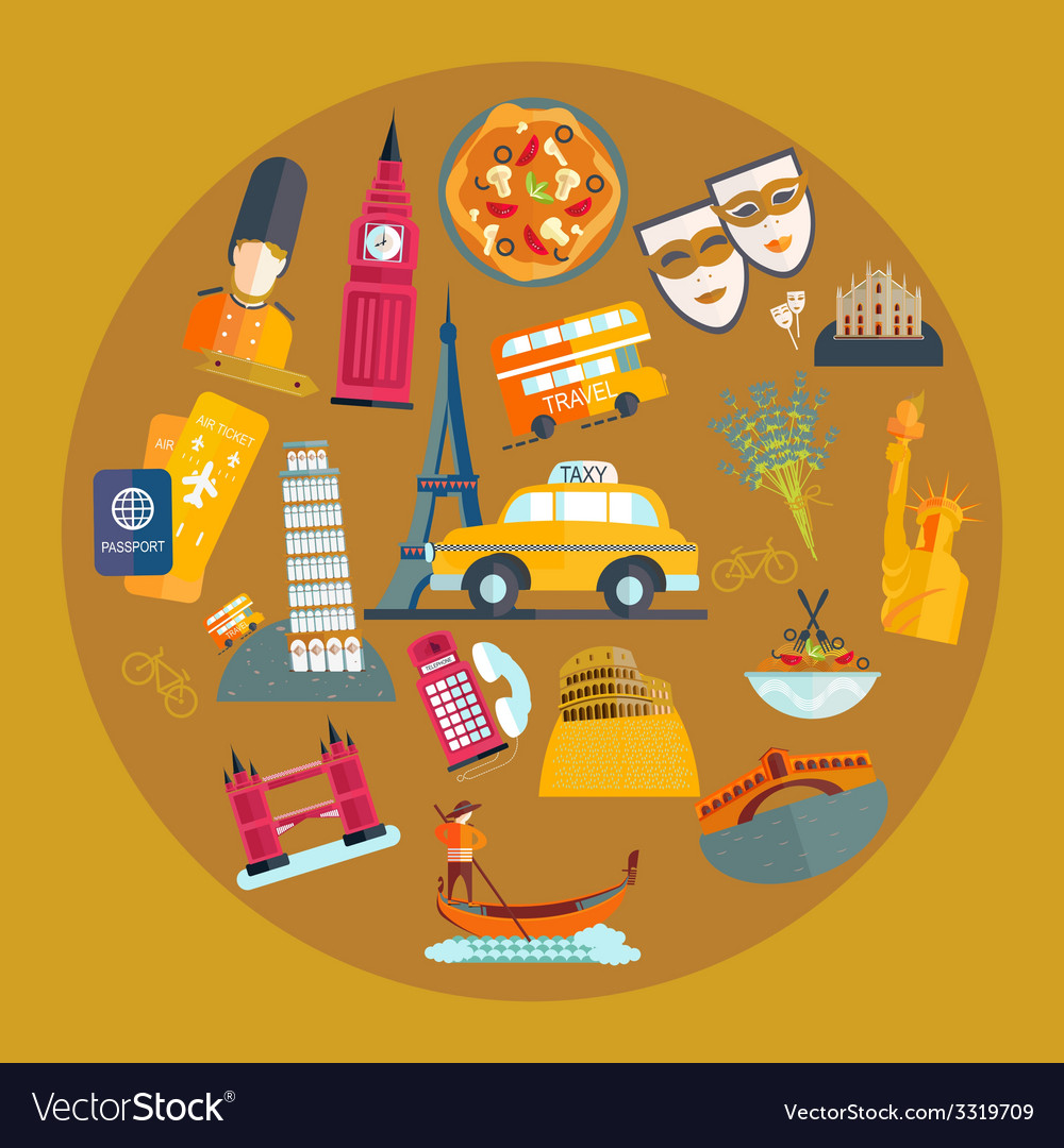 Travel by europe italy england usa vector | Price: 1 Credit (USD $1)