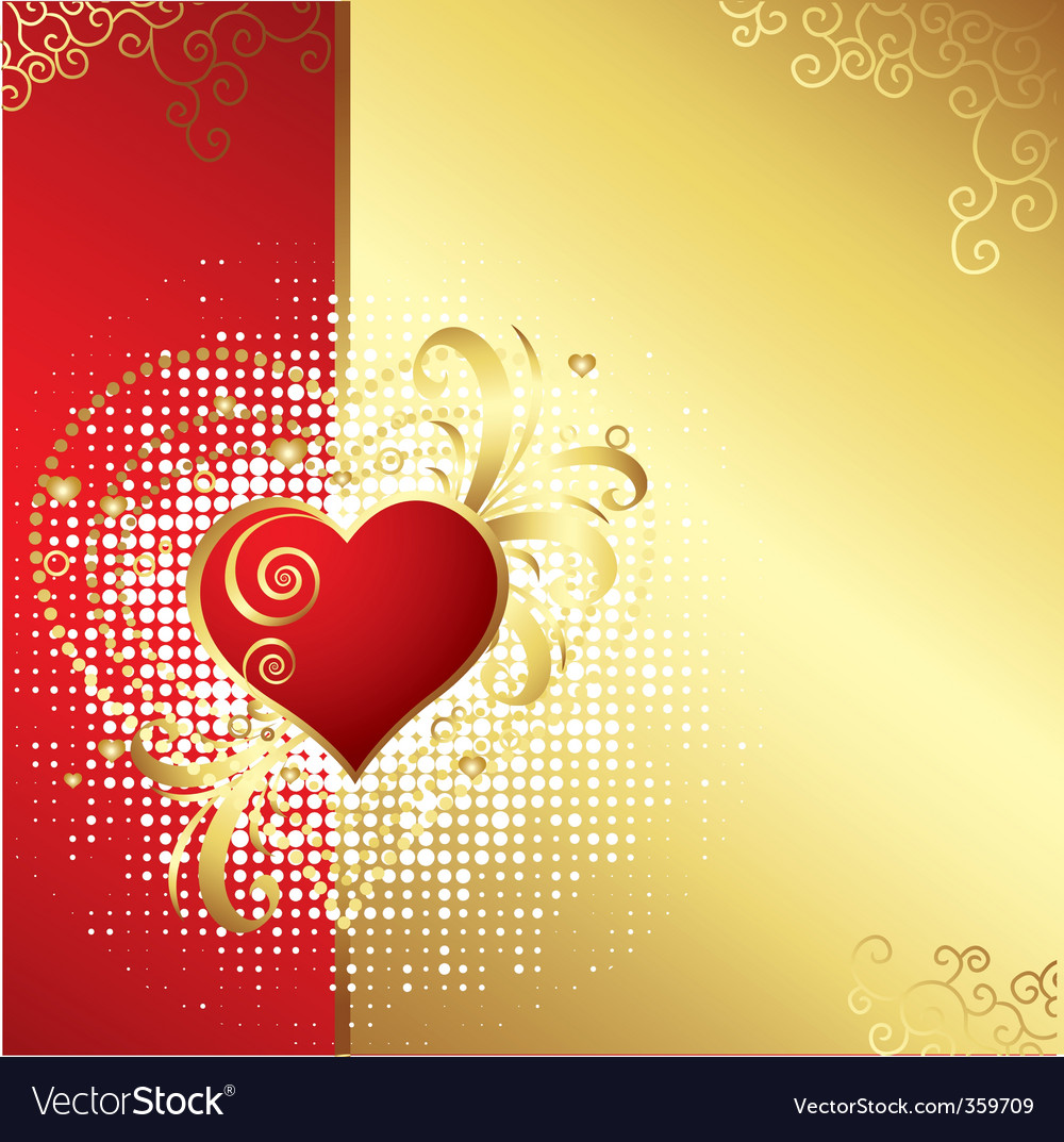 Valentines day golden background v vector | Price: 1 Credit (USD $1)