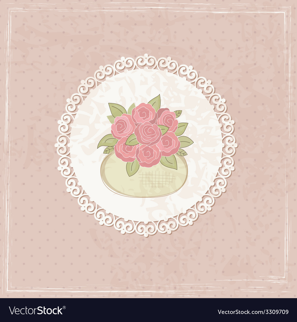 Vintage background with basket of flowers 2 vector | Price: 1 Credit (USD $1)