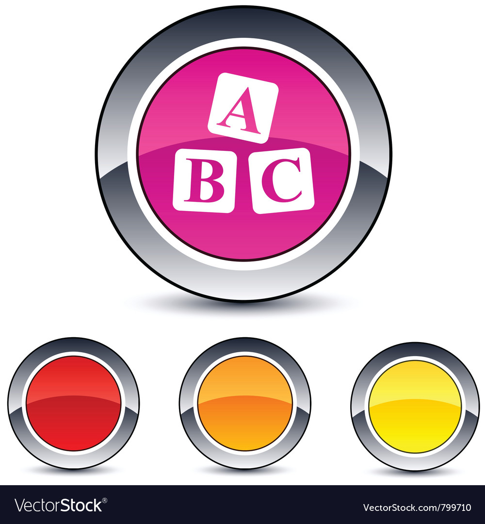 Abc cubes round button vector | Price: 1 Credit (USD $1)