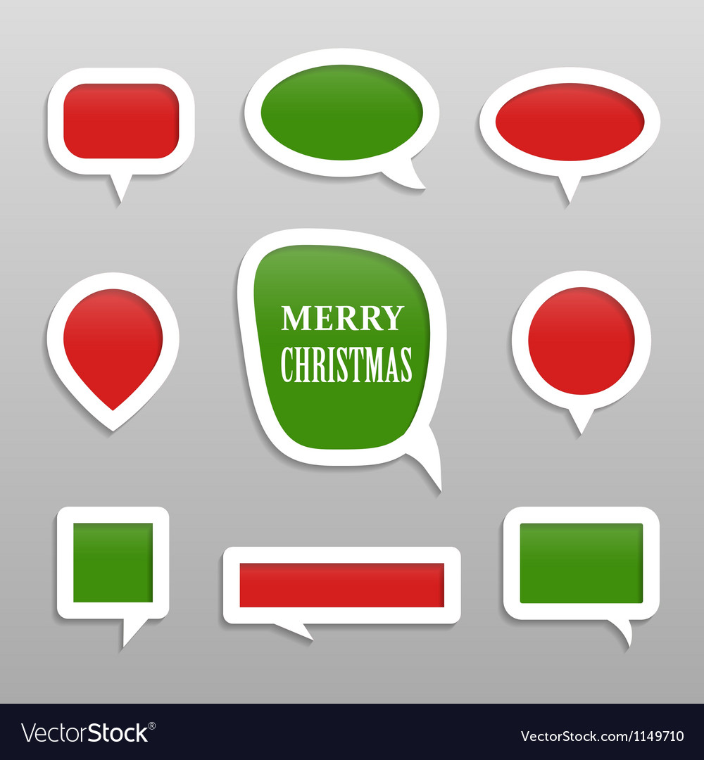 Bubbles for speech merry christmas collection vector | Price: 1 Credit (USD $1)