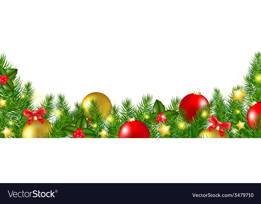 Christmas border with holly berry vector   Price: 1 Credit (USD $1)