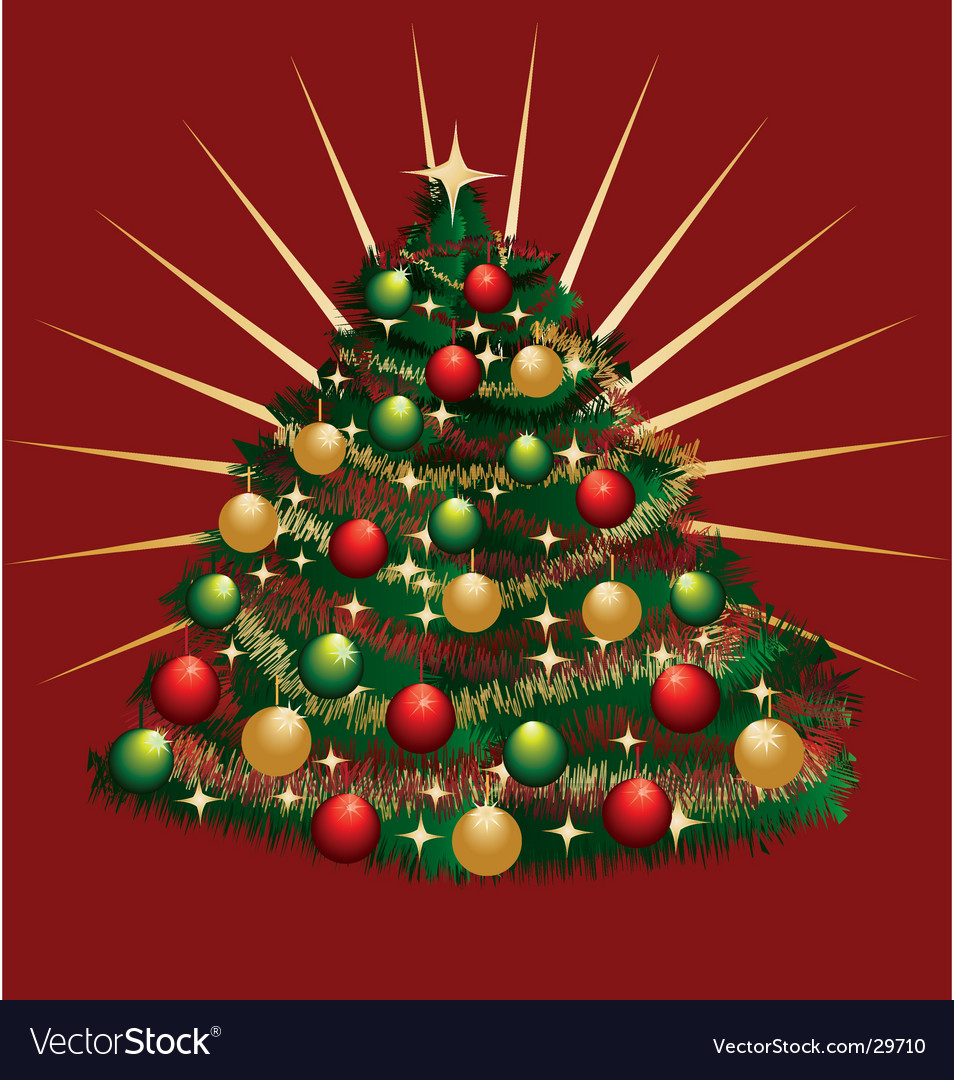 Christmas-tree with tinsels and bowls vector | Price: 1 Credit (USD $1)