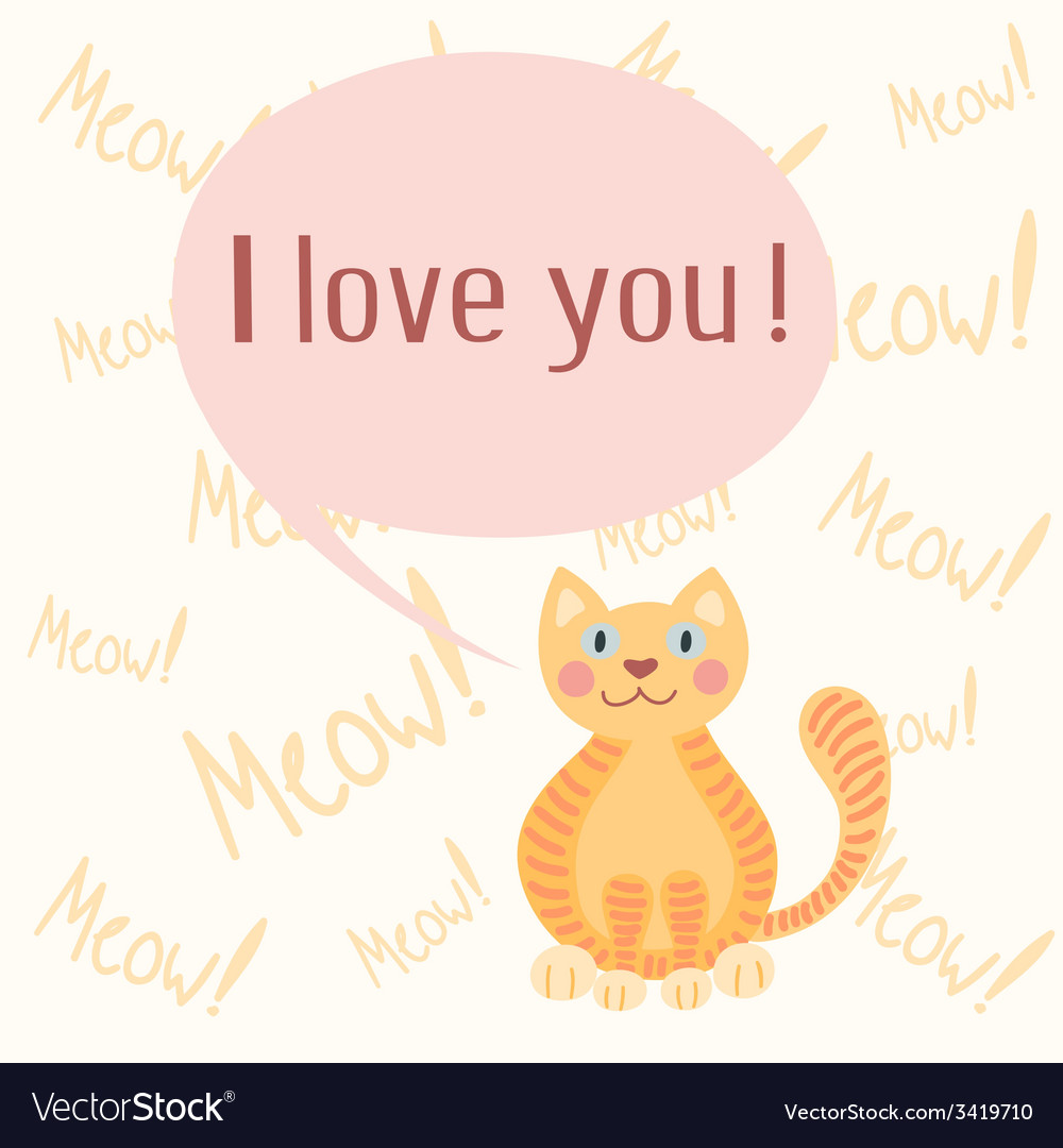 Cute romantic background with cat vector | Price: 1 Credit (USD $1)