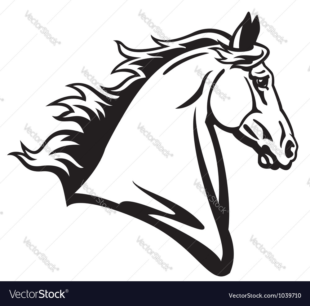 Horse head profile black white vector | Price: 1 Credit (USD $1)