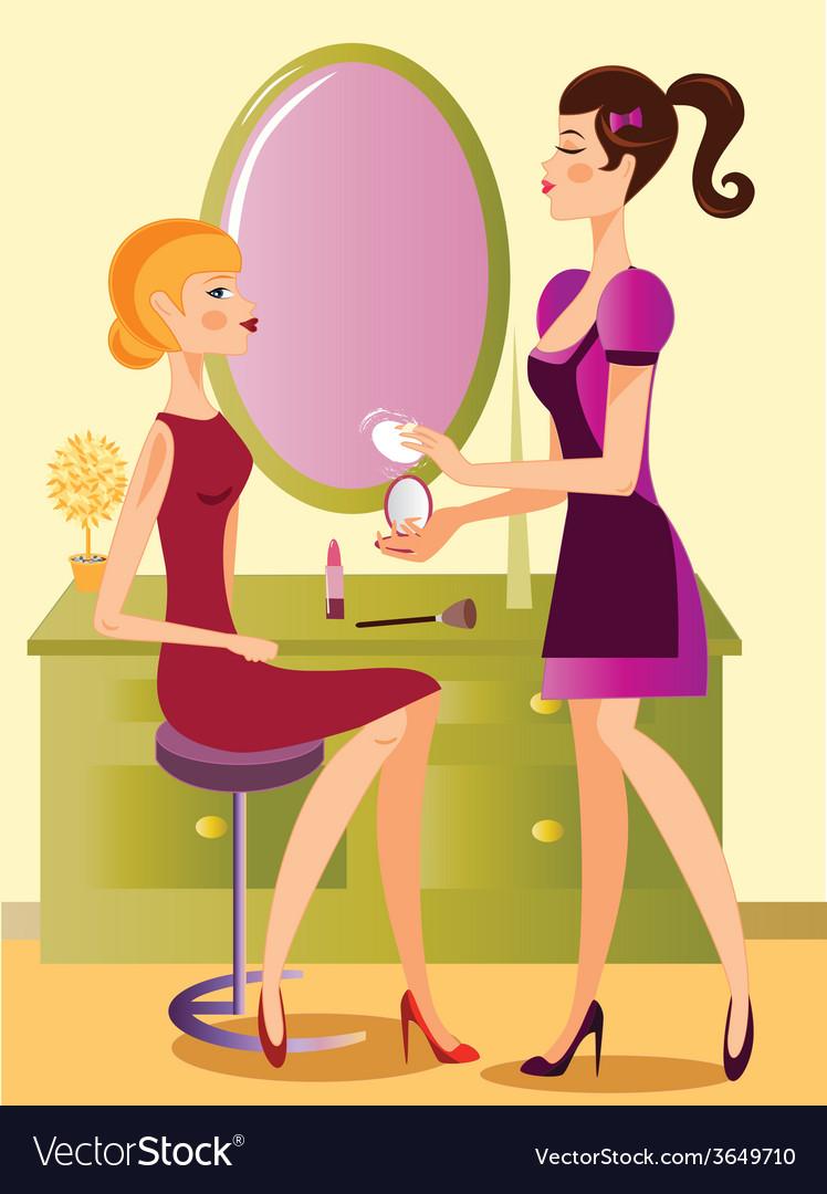 Makeup-artist-working vector | Price: 1 Credit (USD $1)
