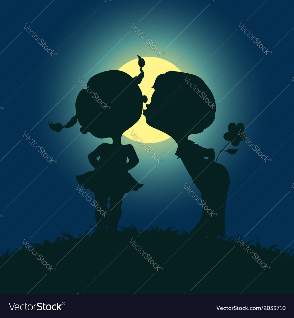 Moonlight silhouettes of kissing boy and girl vector | Price: 1 Credit (USD $1)