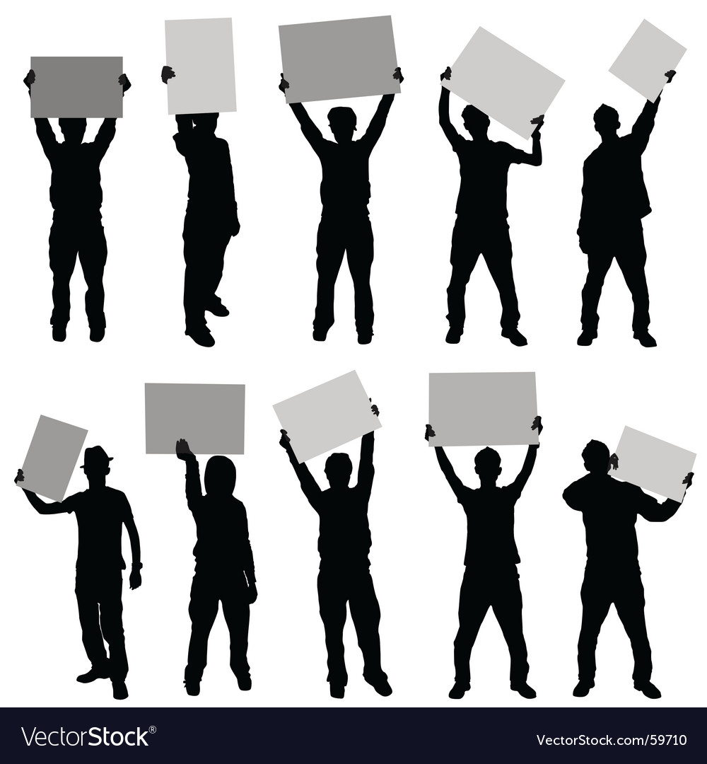 People holding sign vector | Price: 1 Credit (USD $1)