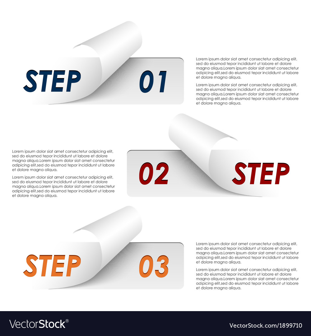 Set of colorful sample steps stickers template vector | Price: 1 Credit (USD $1)