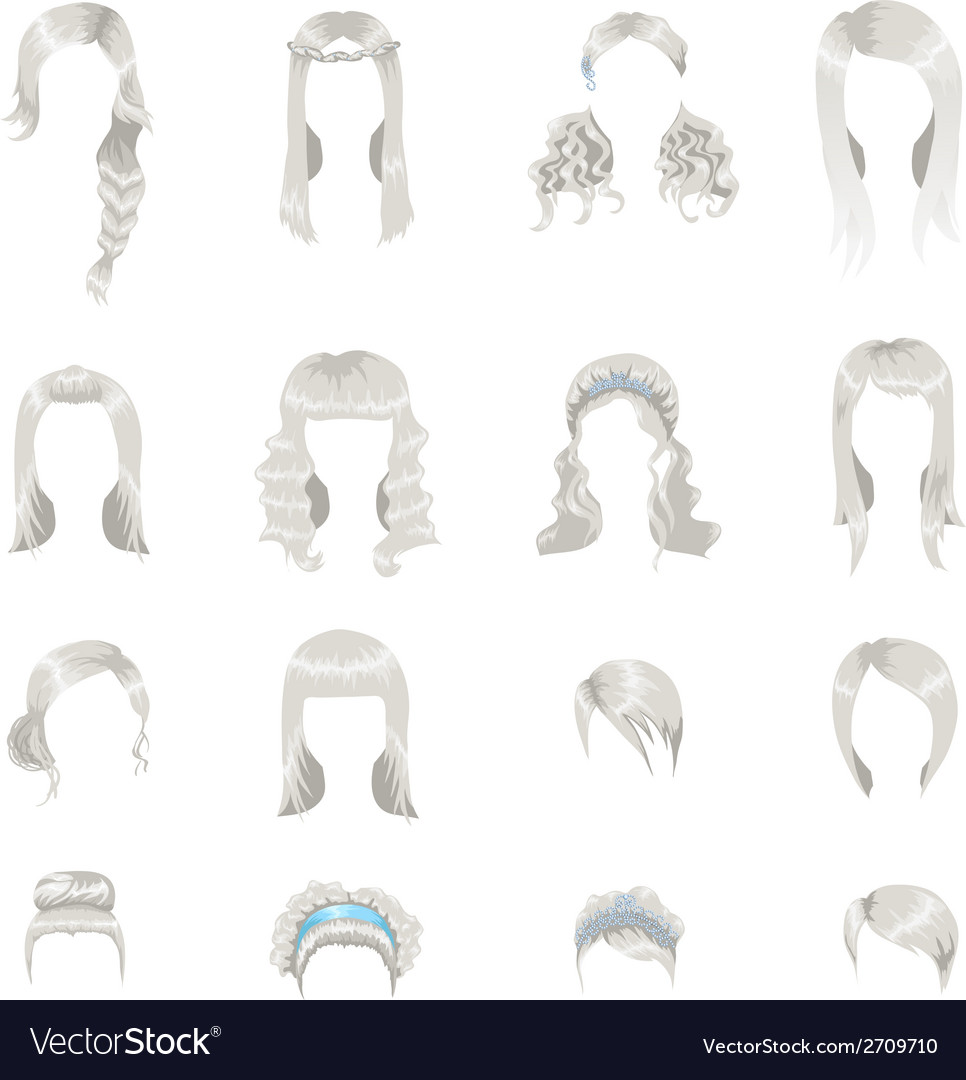 Set of sixteen different gray hairstyles for women vector | Price: 1 Credit (USD $1)