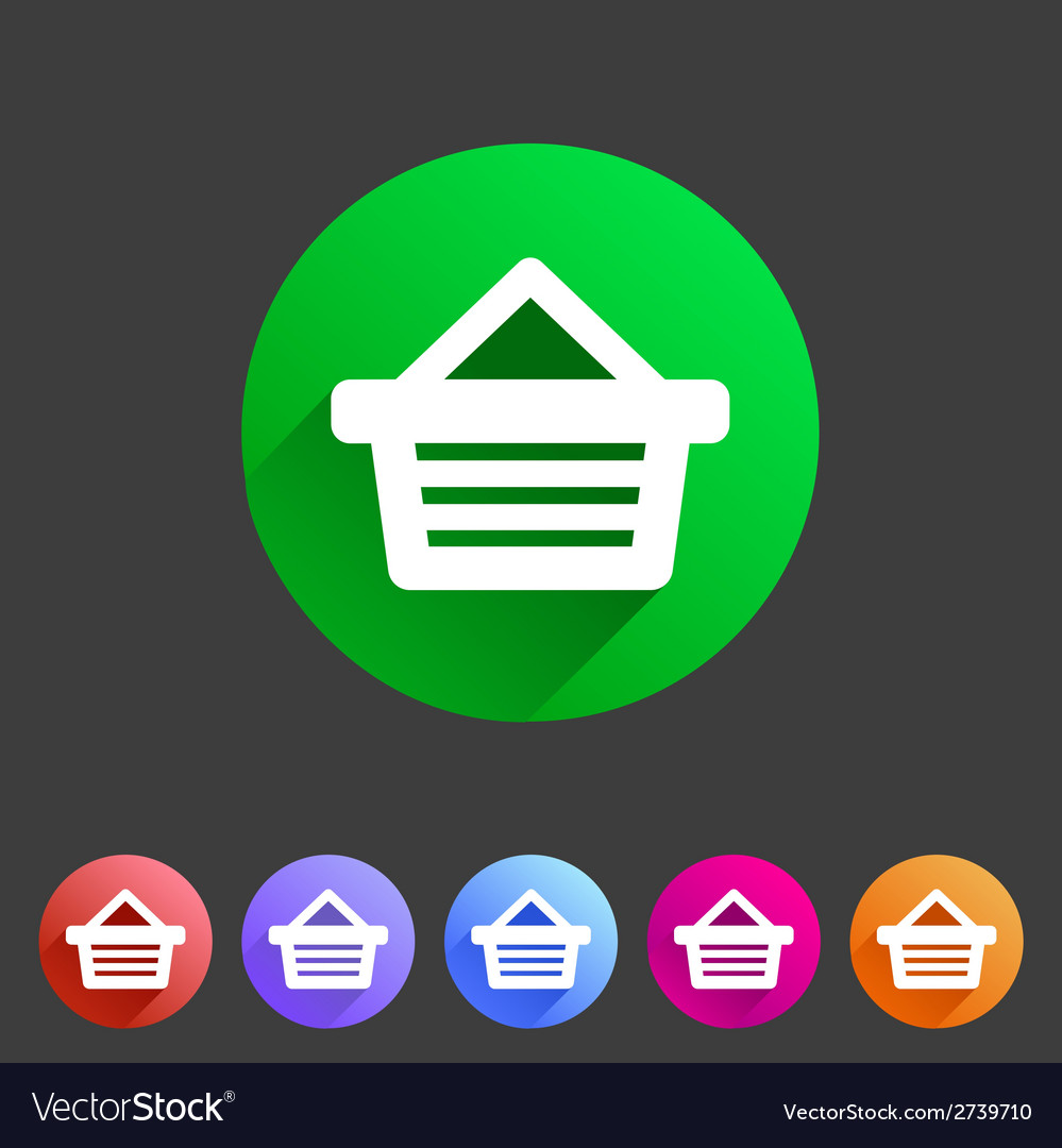 Shopping basket flat icon vector | Price: 1 Credit (USD $1)