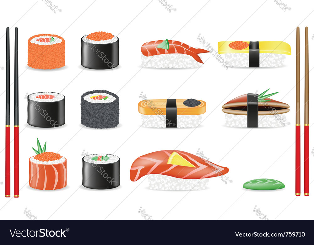 Sushi set icons vector | Price: 3 Credit (USD $3)
