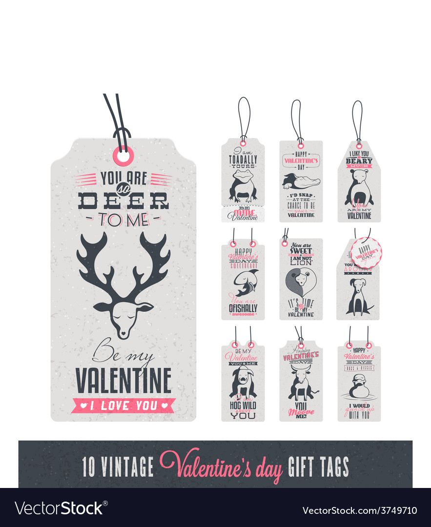 Vintage valentines day gift tags vector | Price: 1 Credit (USD $1)