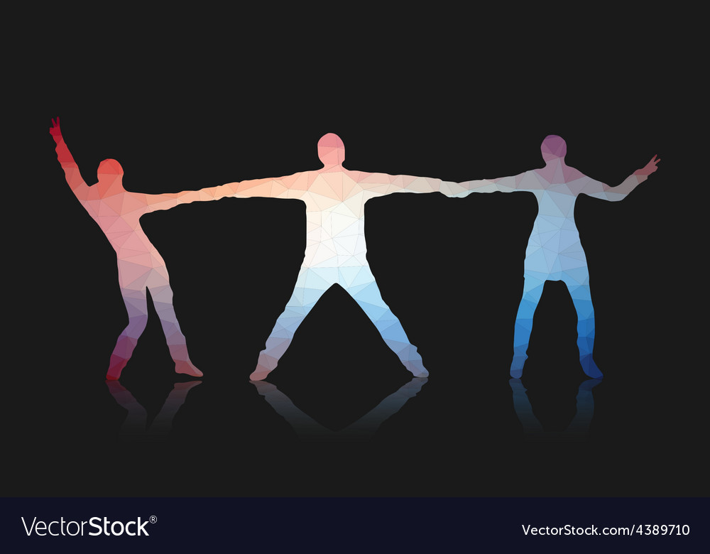 Young people posing for the camera triangles vector | Price: 1 Credit (USD $1)