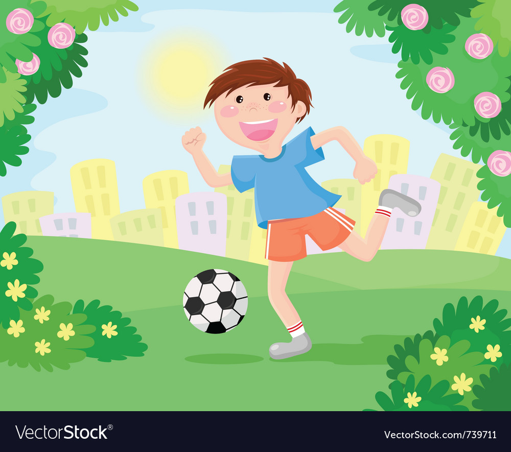 Boy playing soccer vector