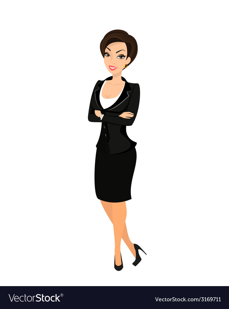 Business woman wearing black suit vector | Price: 1 Credit (USD $1)