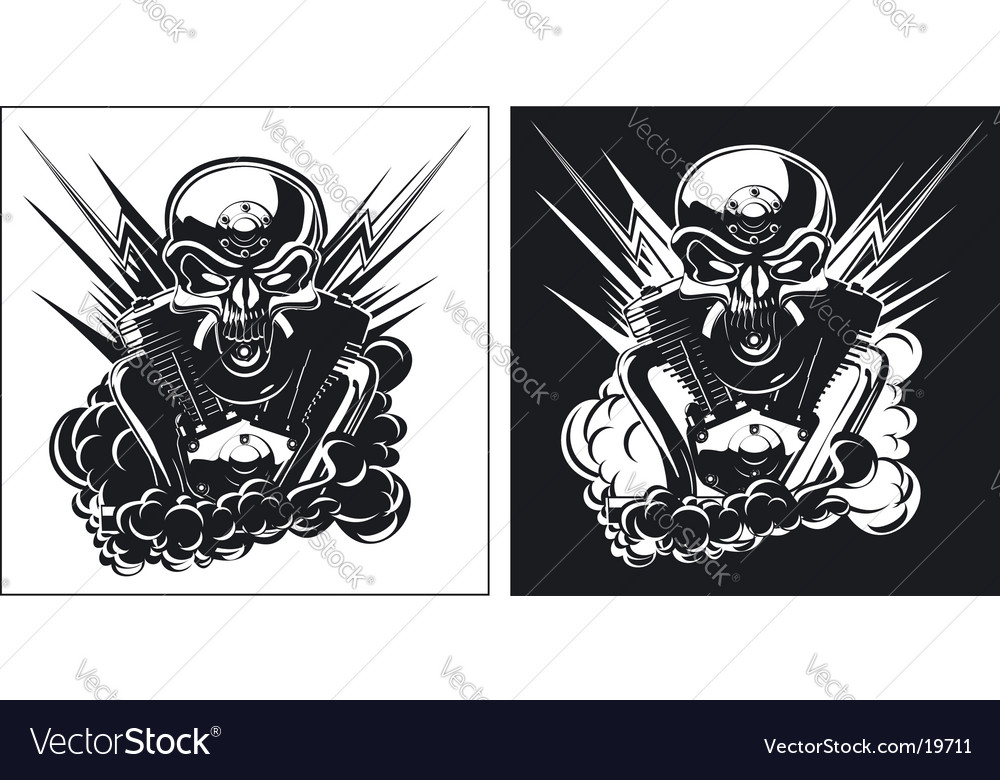 Bw skull with engine set vector | Price: 1 Credit (USD $1)