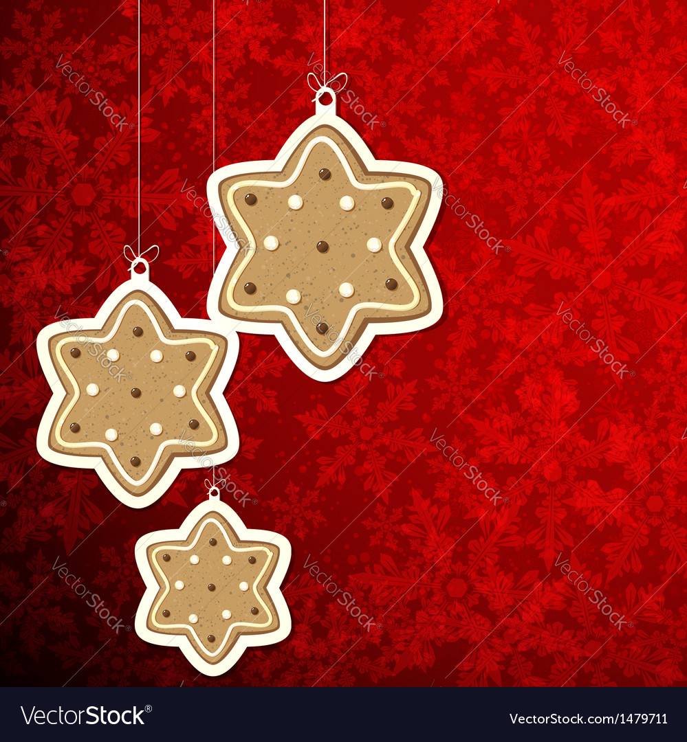 Christmas background with gingerbread stars vector | Price: 1 Credit (USD $1)