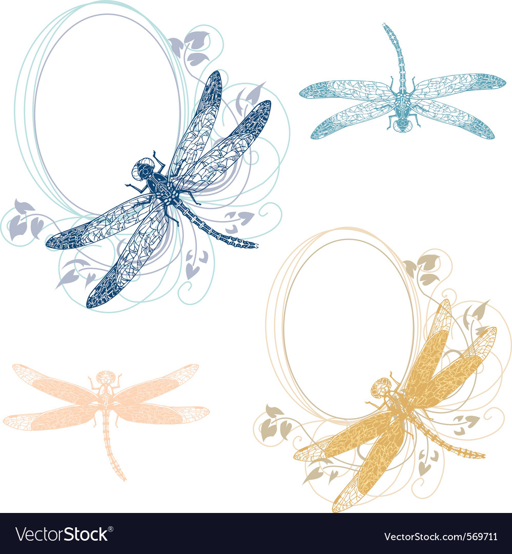 Dragonfly pastel frames vector | Price: 1 Credit (USD $1)