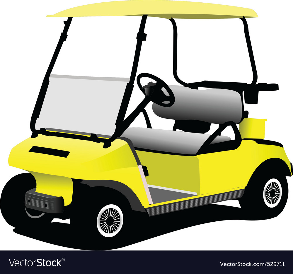 Golfer cart vector | Price: 1 Credit (USD $1)