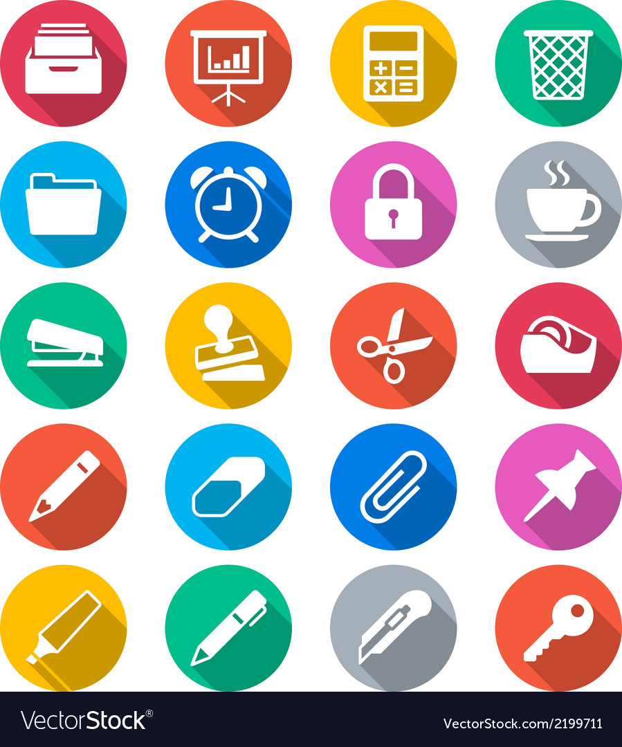 Office supplies flat color icons vector | Price: 1 Credit (USD $1)