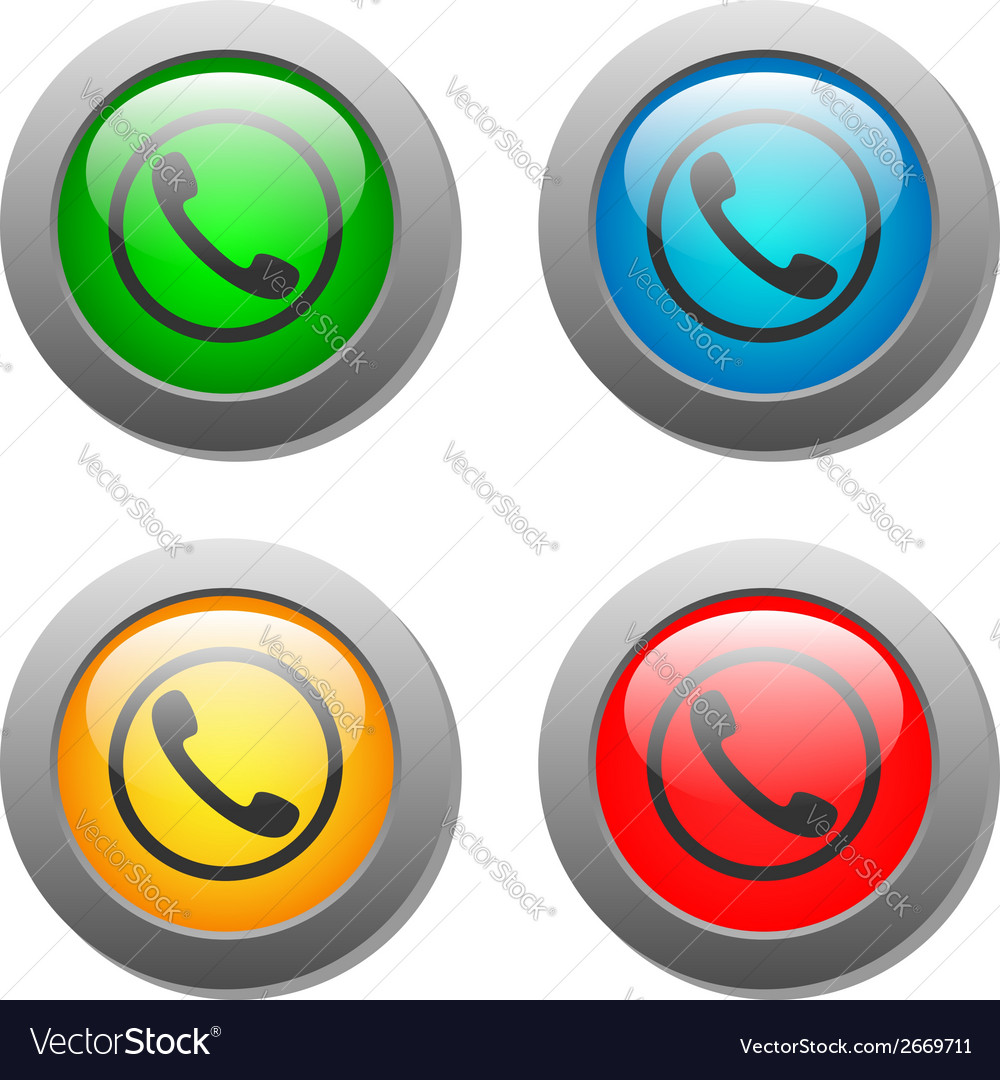 Phone handset icon glass button set vector | Price: 1 Credit (USD $1)