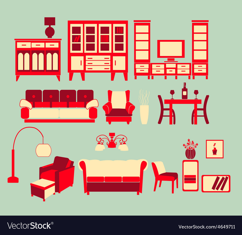 Retro home interior vector | Price: 1 Credit (USD $1)