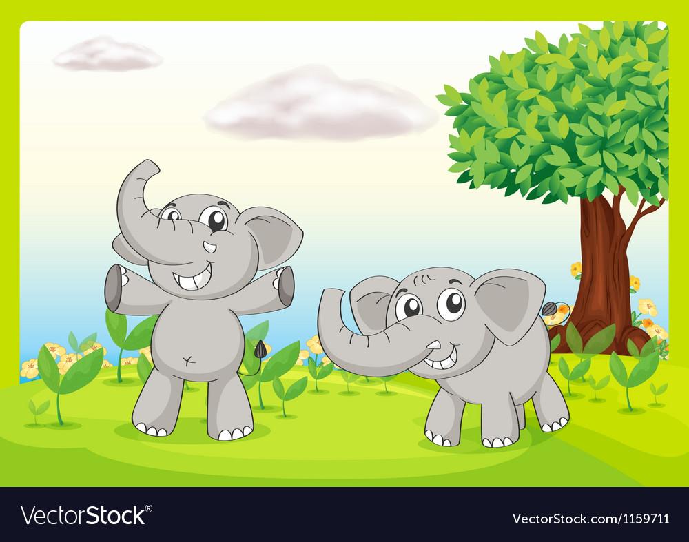 Two gray elephants vector | Price: 1 Credit (USD $1)