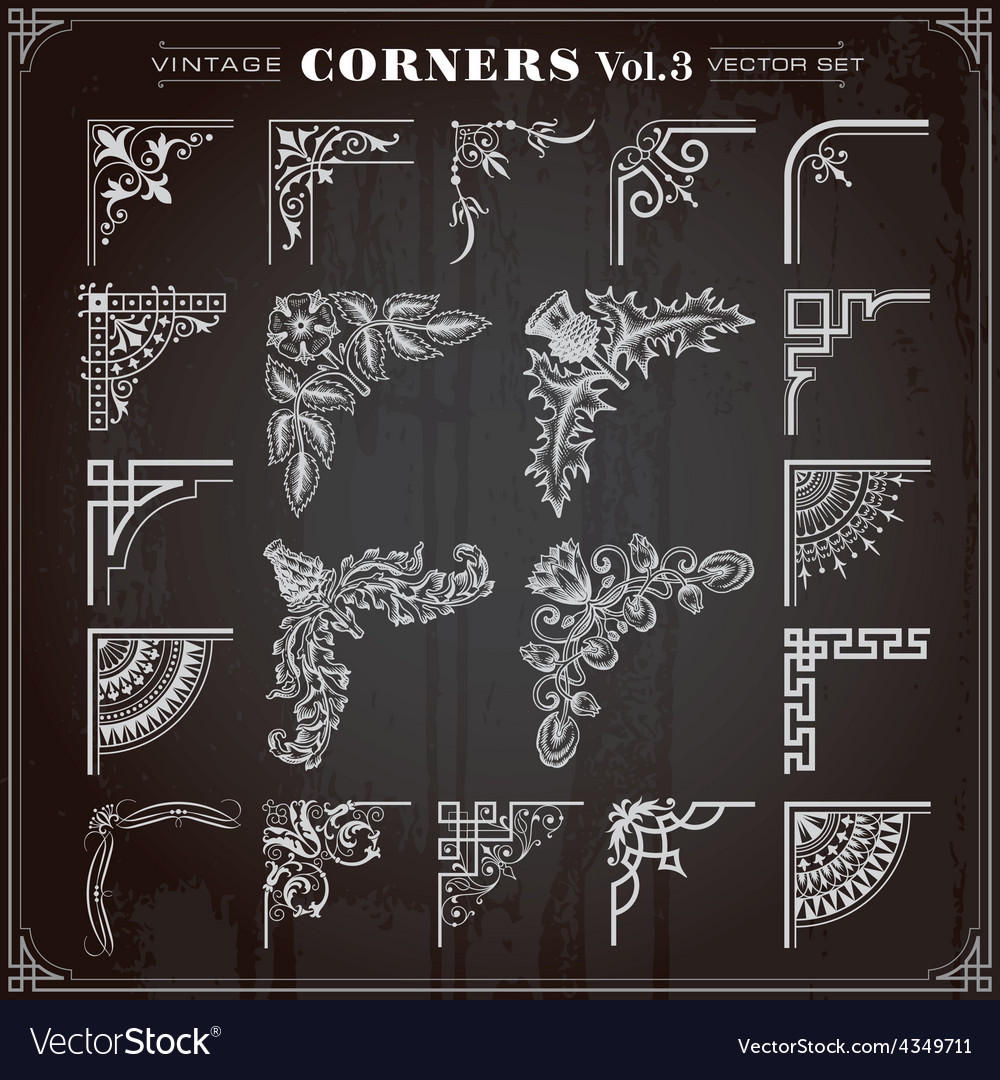 Vintage corners and borders set 3 vector | Price: 1 Credit (USD $1)