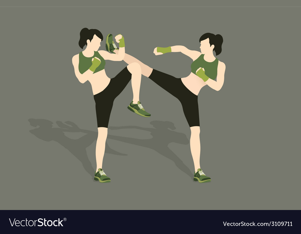 Young woman fighting body combat vector | Price: 1 Credit (USD $1)