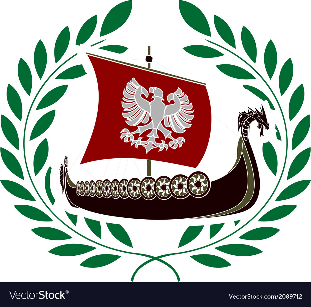 Ancient ship and laurel wreath vector | Price: 1 Credit (USD $1)