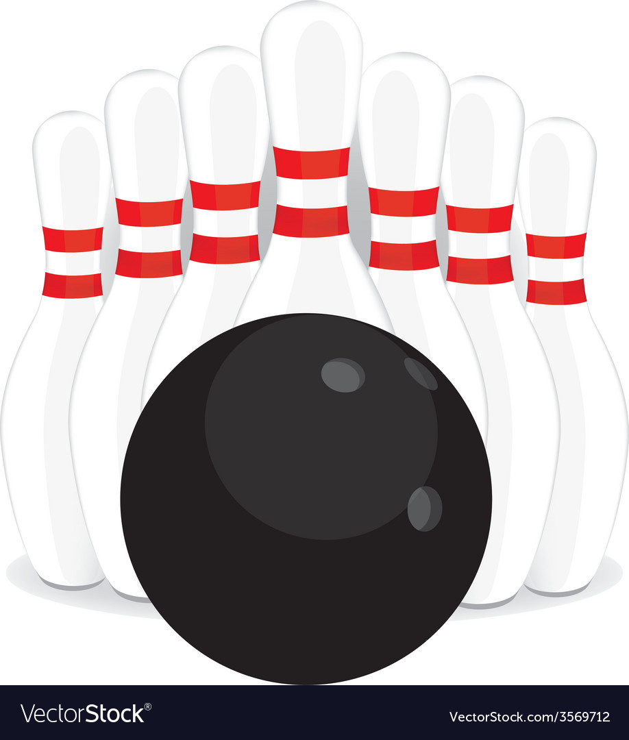 Bowling pins and black ball vector | Price: 1 Credit (USD $1)