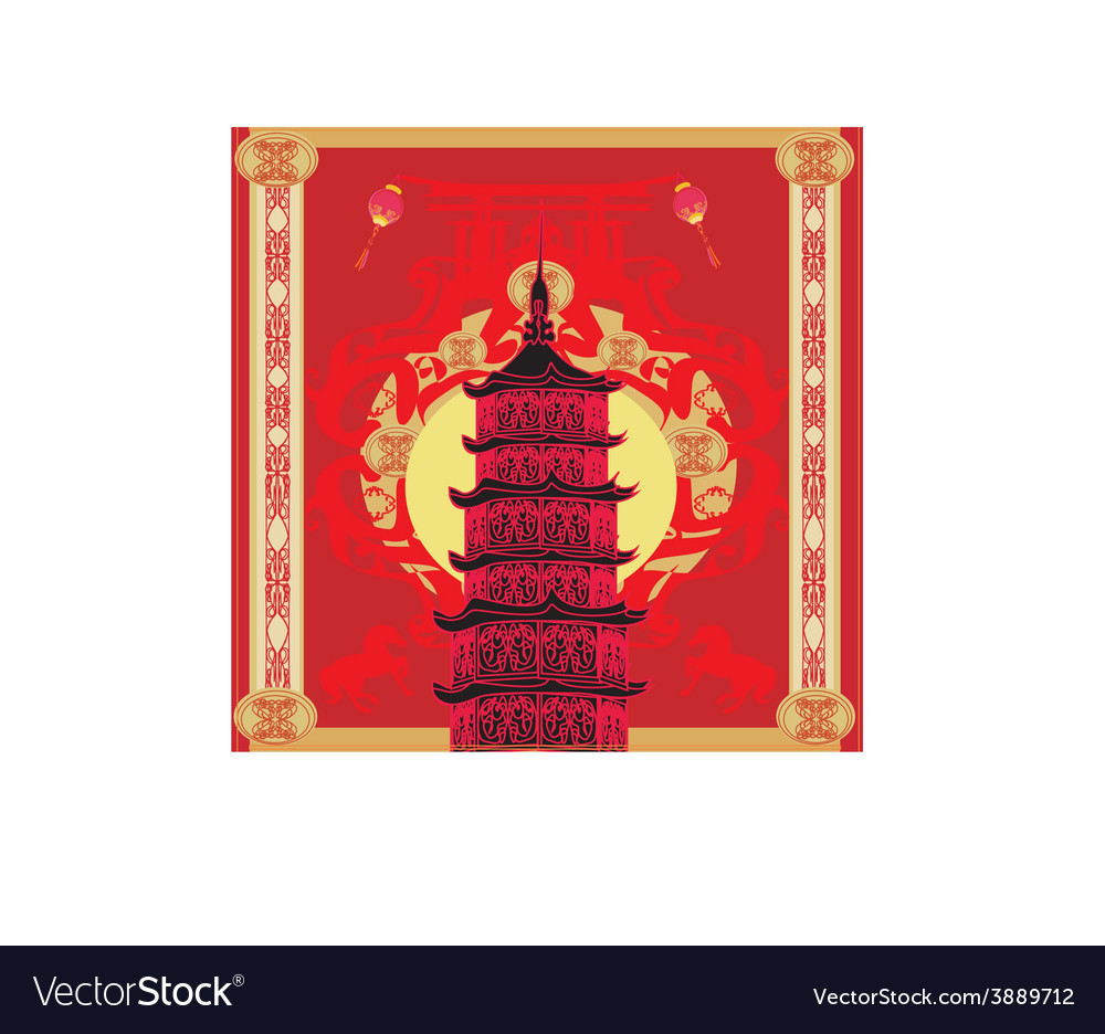 Chinese new year horseabstract christmas card vector | Price: 1 Credit (USD $1)