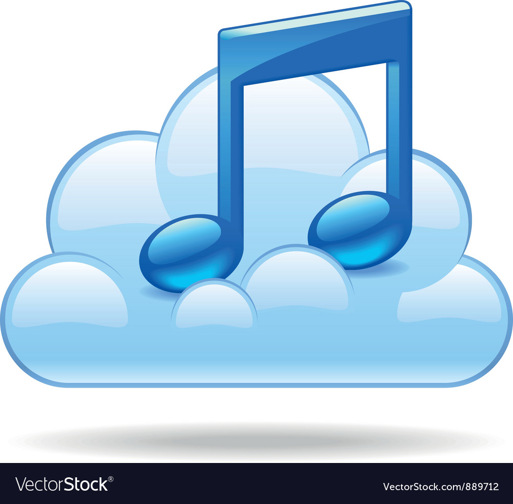 Cloud music vector | Price: 1 Credit (USD $1)