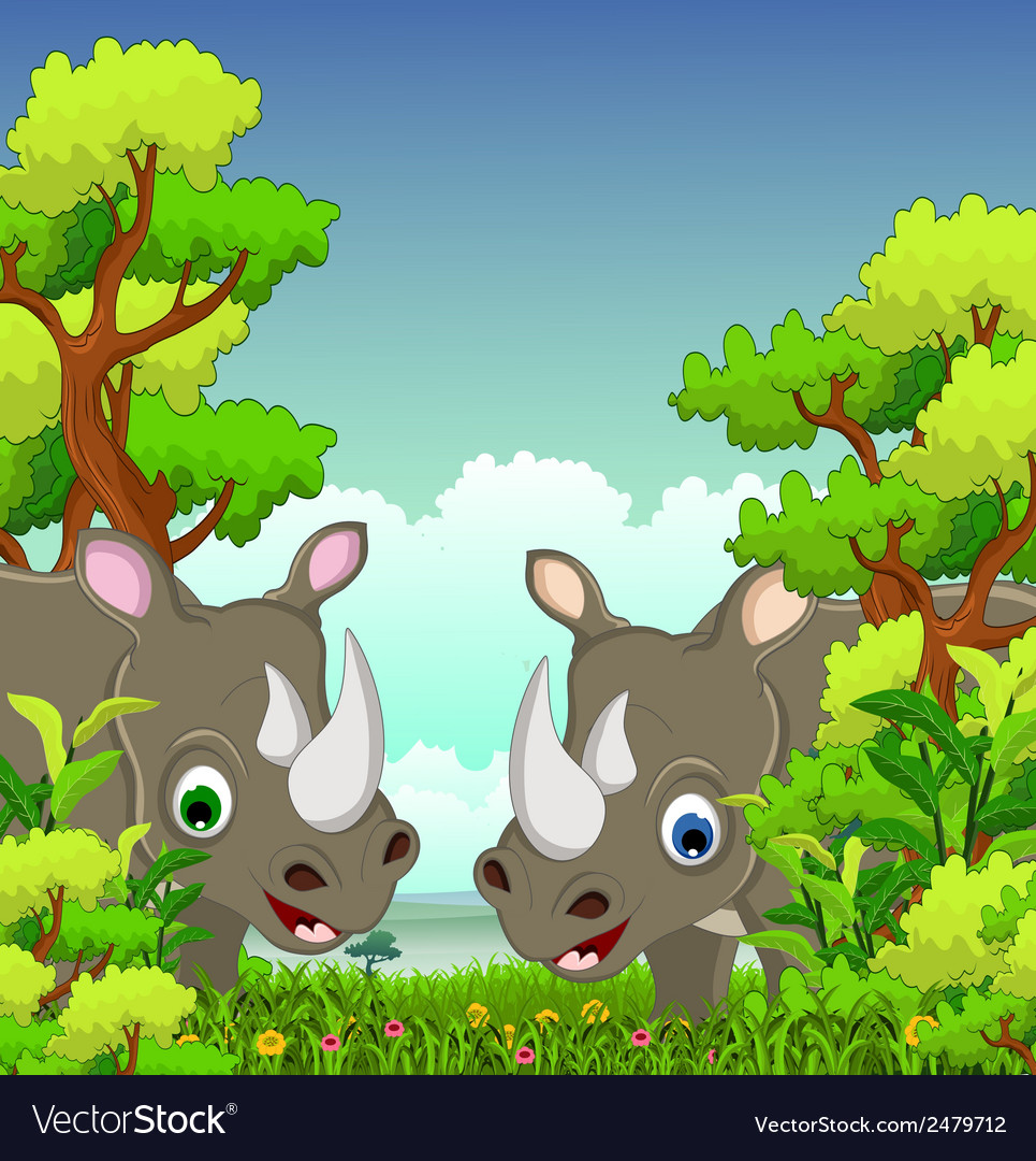 Couple rhino cartoon with forest background vector | Price: 1 Credit (USD $1)