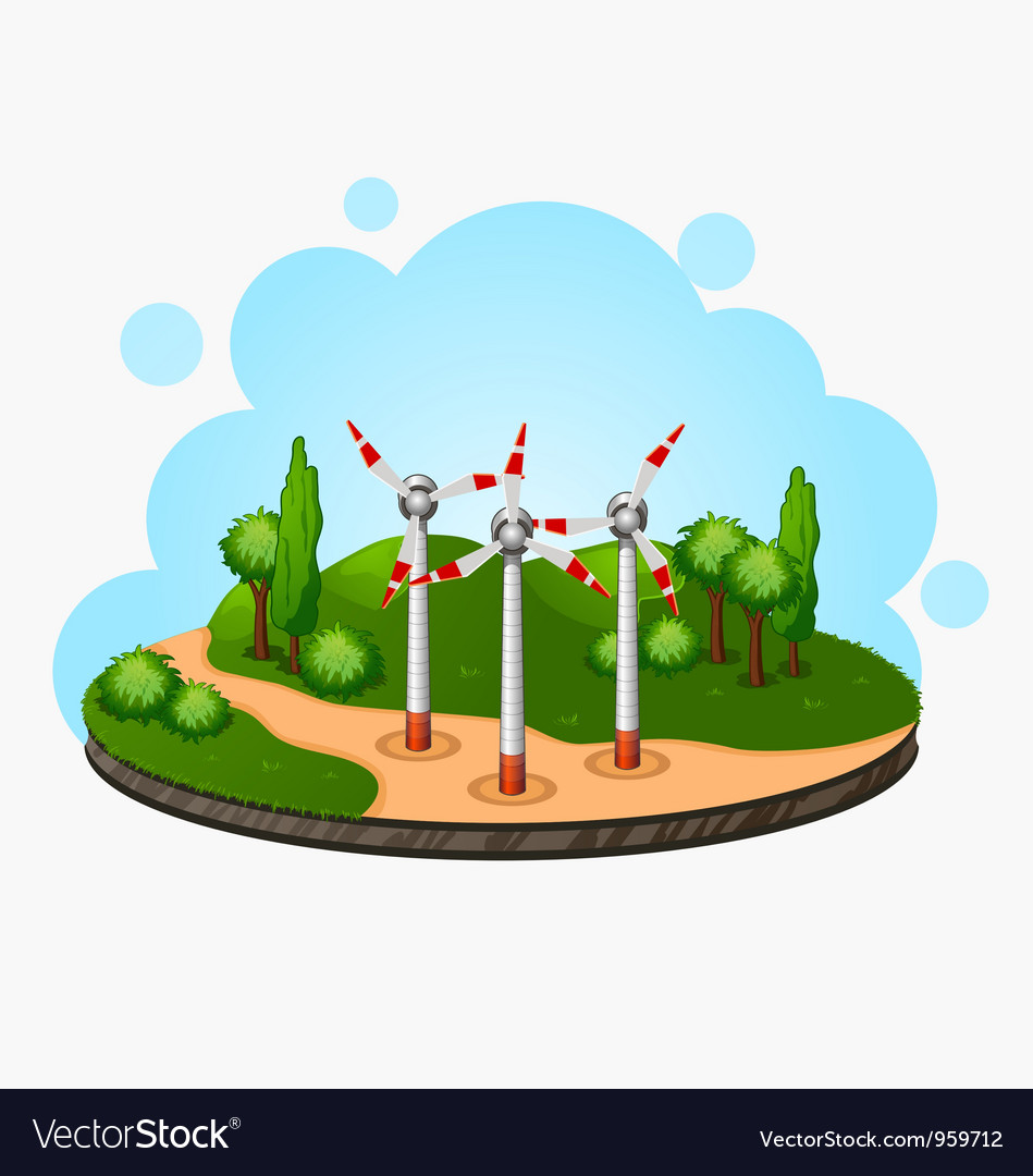 Ecology concept wind driven generators on the vector | Price: 1 Credit (USD $1)