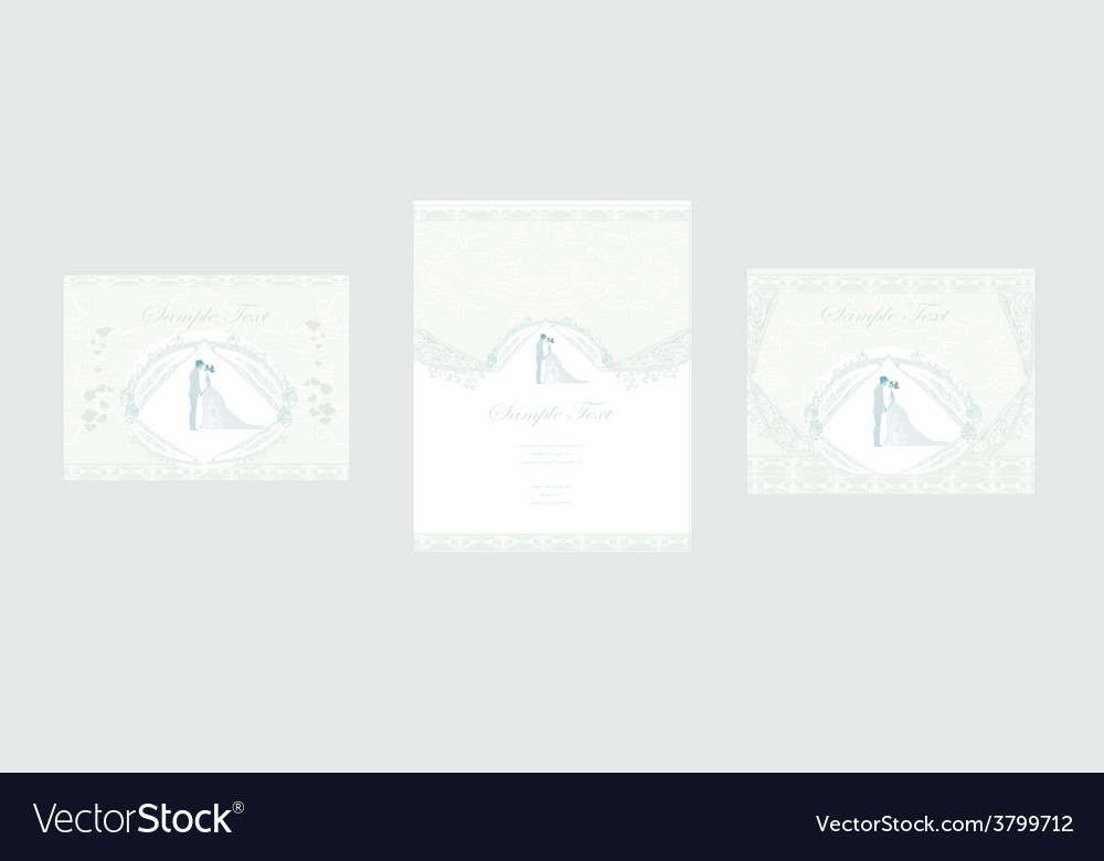 Elegant wedding invitation set vector | Price: 1 Credit (USD $1)