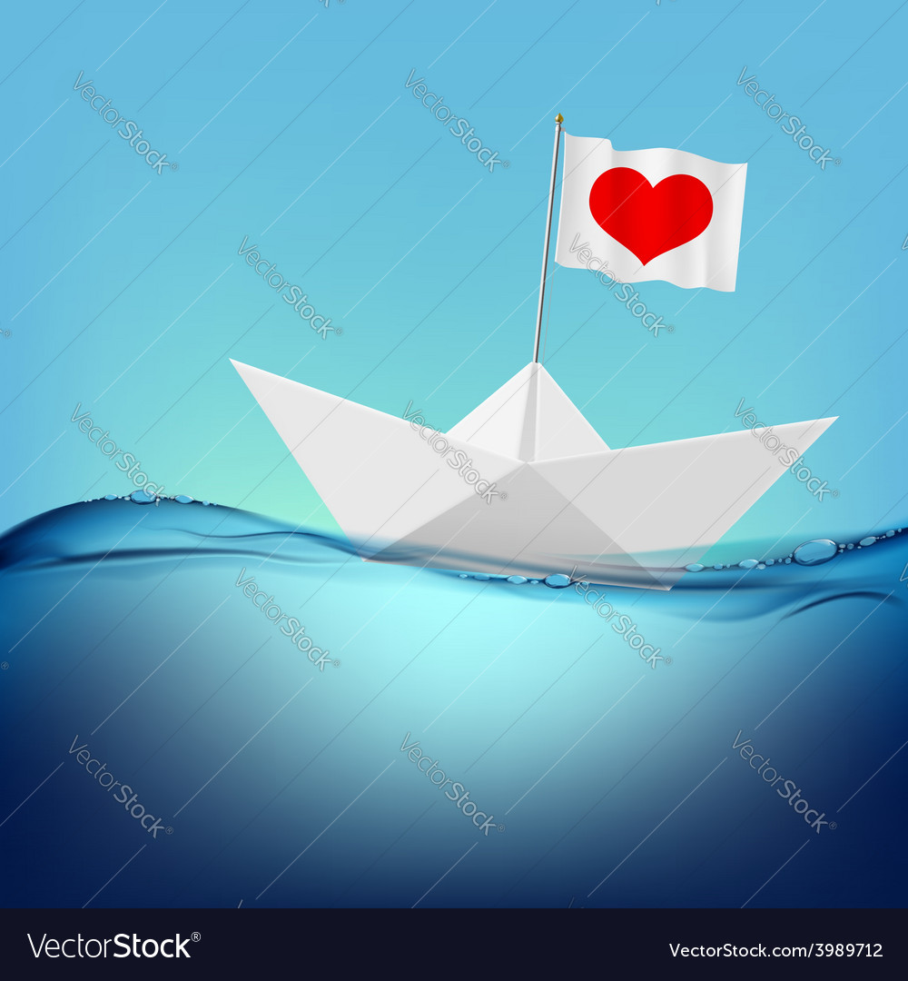 Flag with a red heart on a paper boat vector | Price: 1 Credit (USD $1)