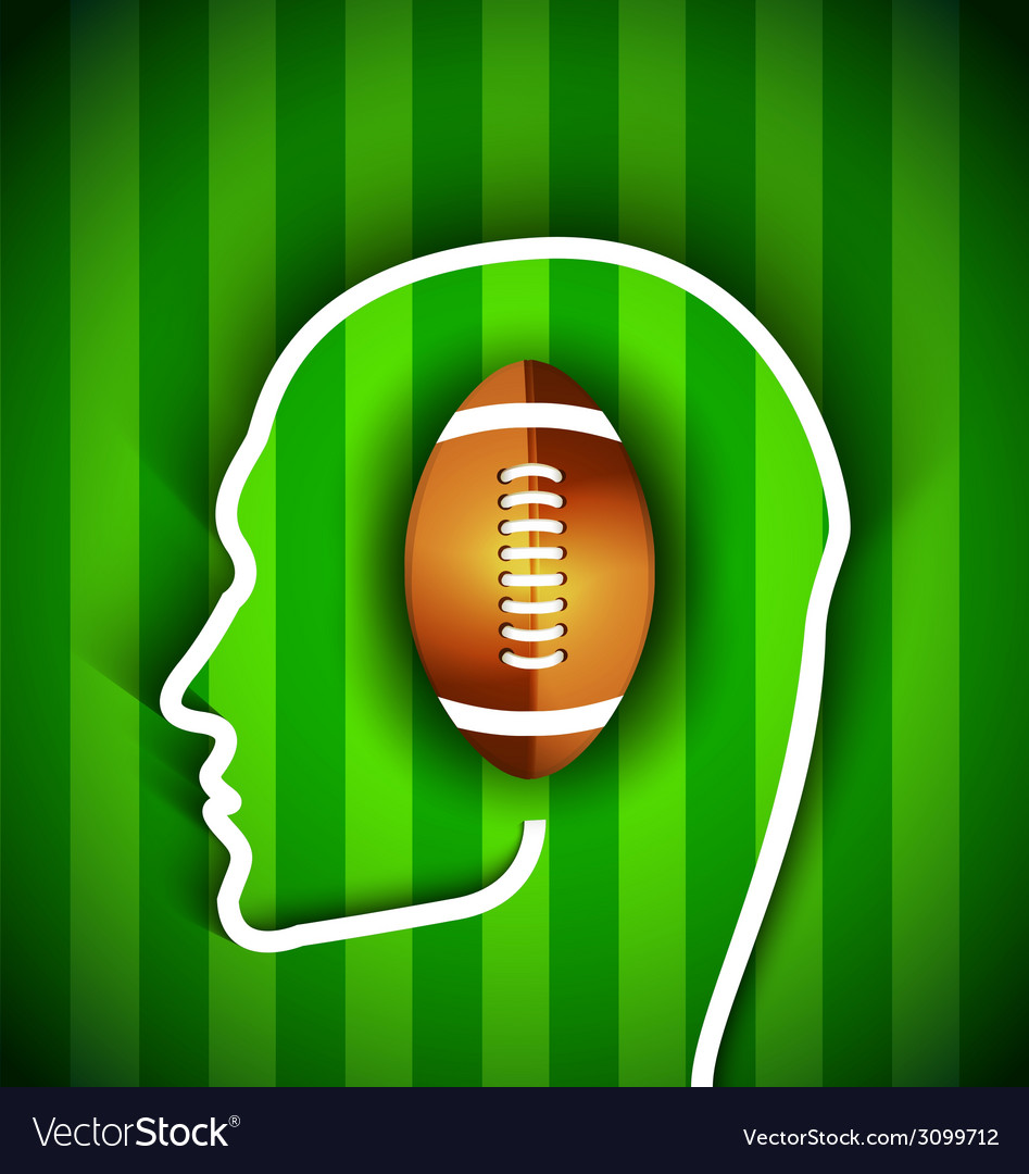 Human head with rugby football american ball vector | Price: 1 Credit (USD $1)