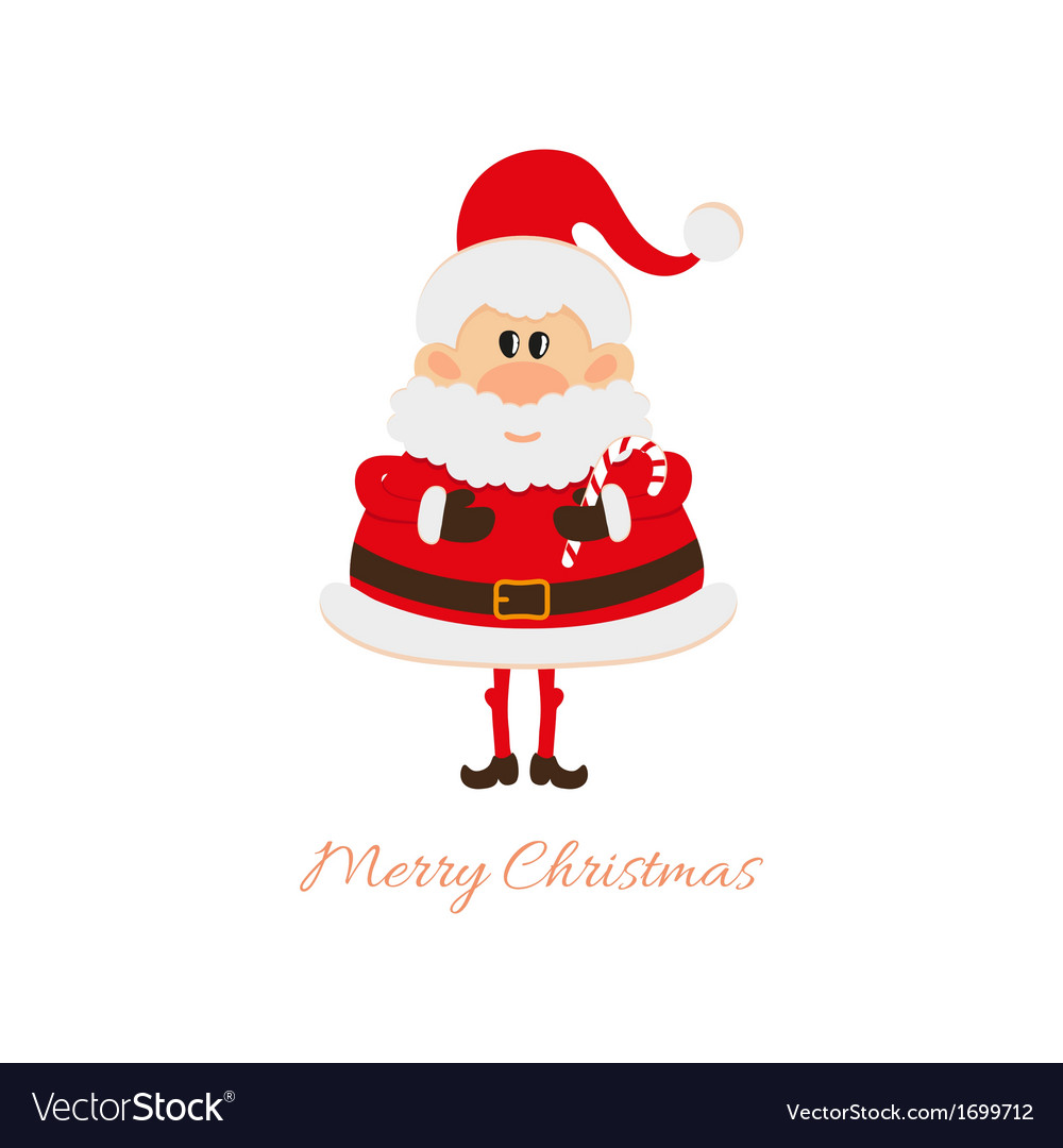Santa claus with christmas caramel cane vector | Price: 1 Credit (USD $1)