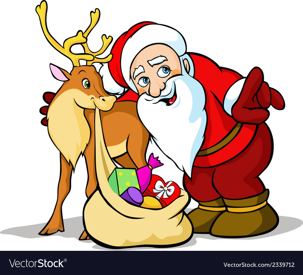 Santa claus with reindeer carrying sack f vector | Price: 1 Credit (USD $1)