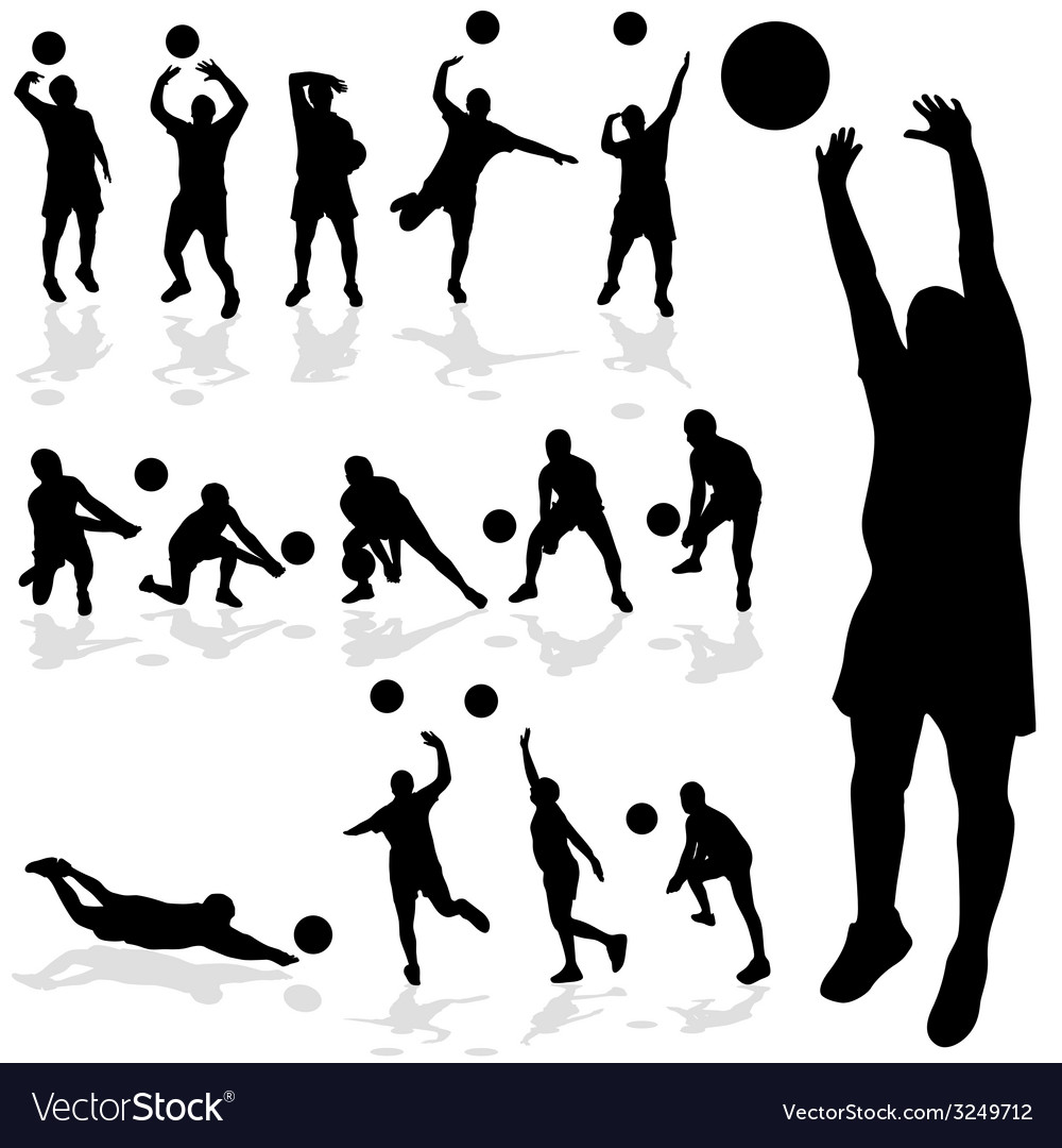 Volleyball player black silhouette in various vector | Price: 1 Credit (USD $1)