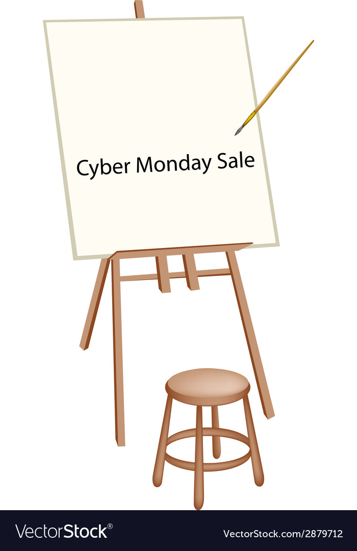 Wooden artist easel with word cyber monday sale vector | Price: 1 Credit (USD $1)