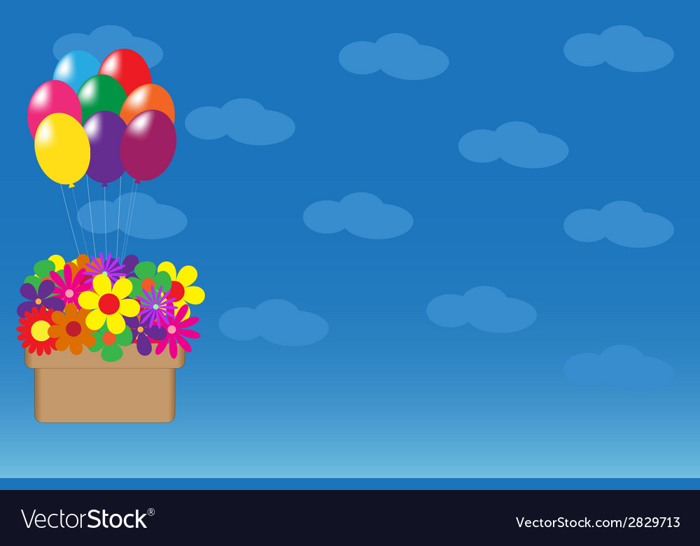 Balloons hanging basket with colorful flowers vector | Price: 1 Credit (USD $1)