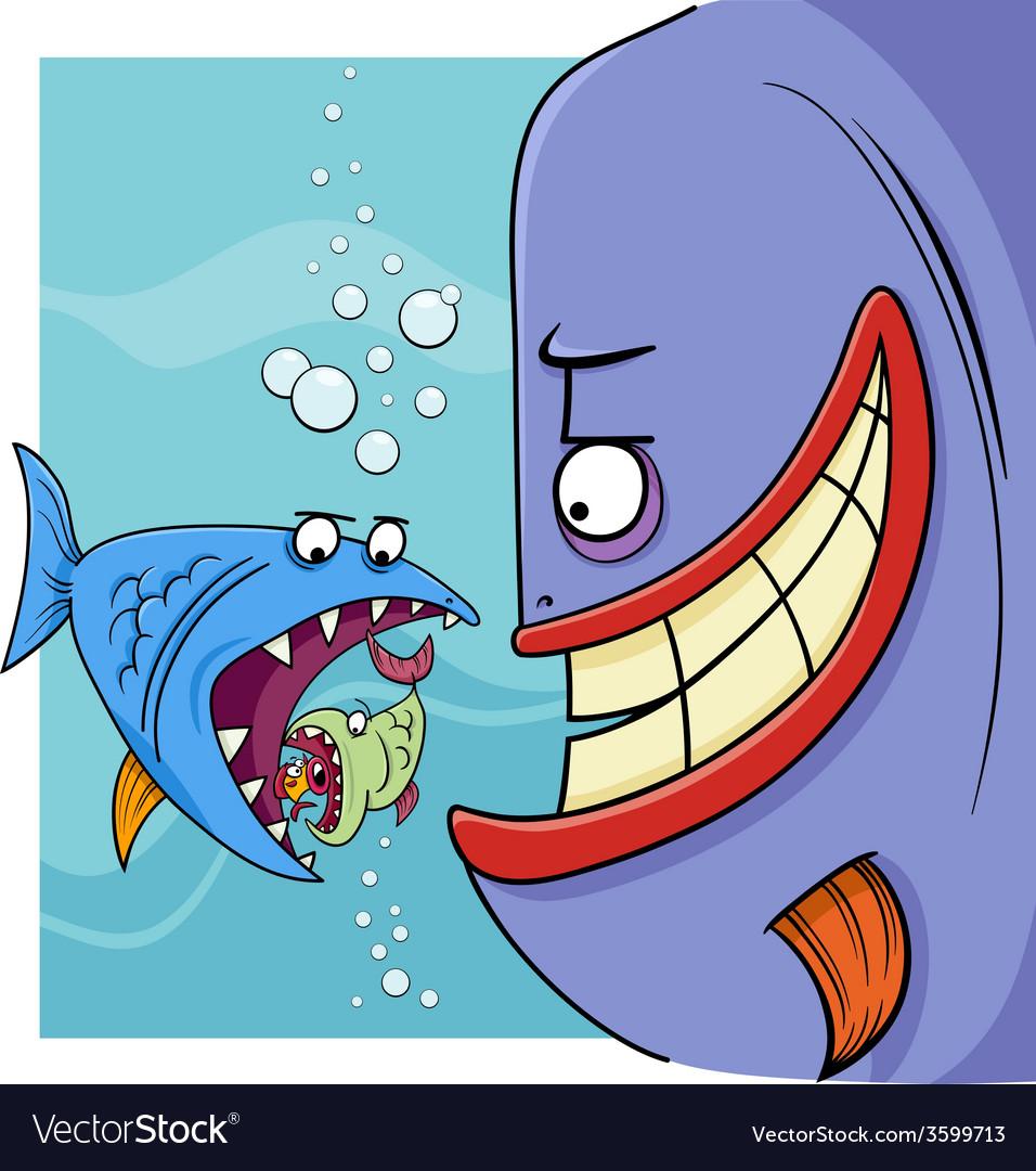 Bigger fish saying cartoon vector | Price: 1 Credit (USD $1)