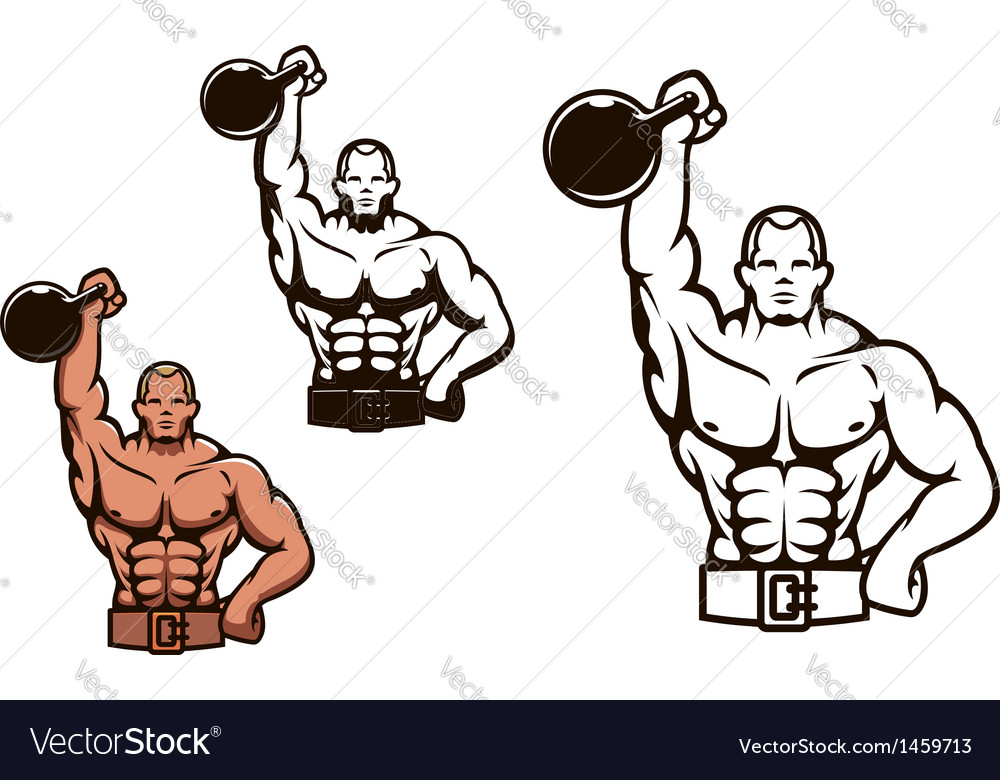 Bodybuilder man with dumbbell vector | Price: 1 Credit (USD $1)