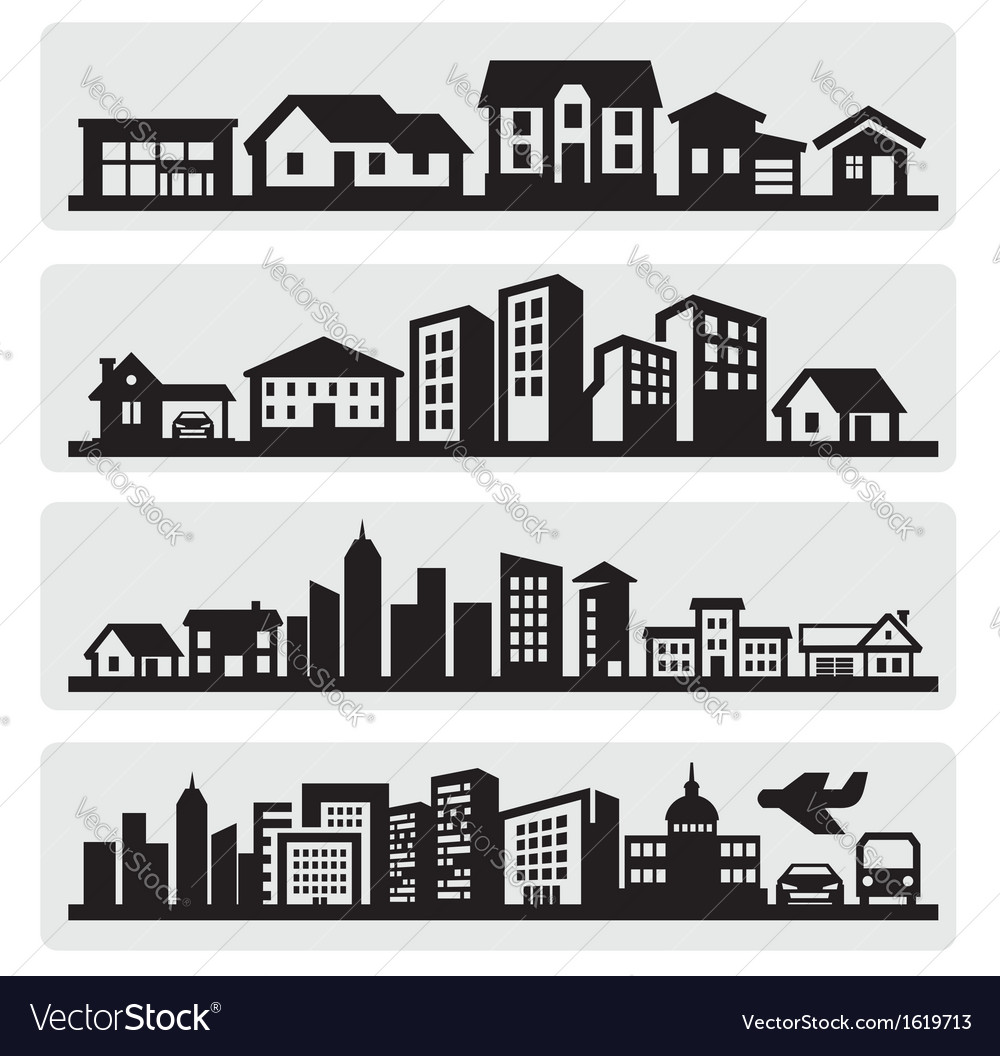 Cities silhouette icon vector | Price: 1 Credit (USD $1)