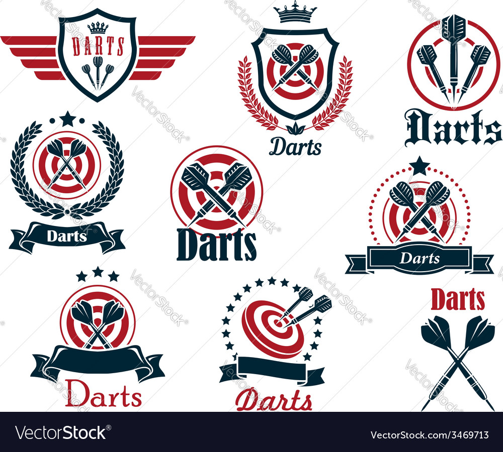 Darts sporting icons and emblems vector | Price: 1 Credit (USD $1)