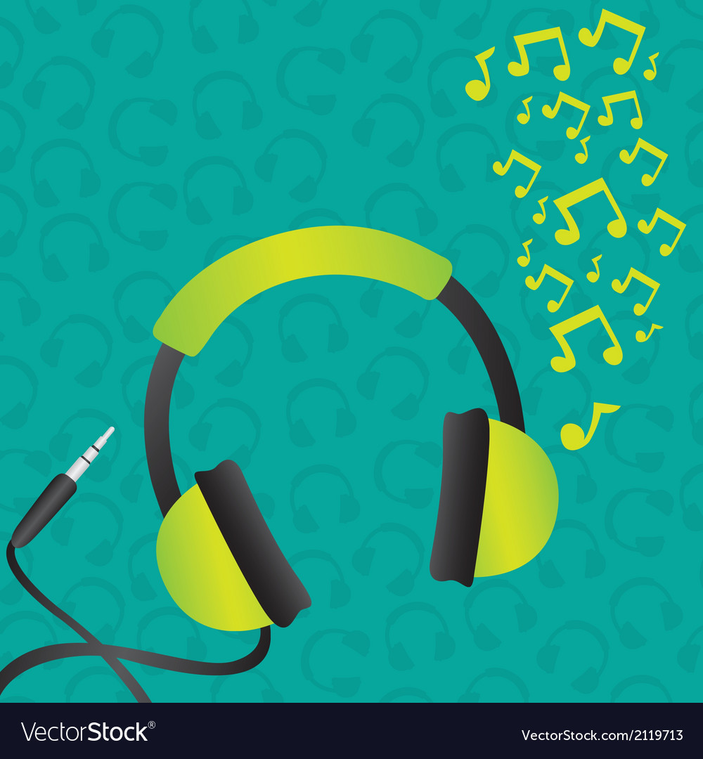 Headphones green background pattern of headphones vector | Price: 1 Credit (USD $1)